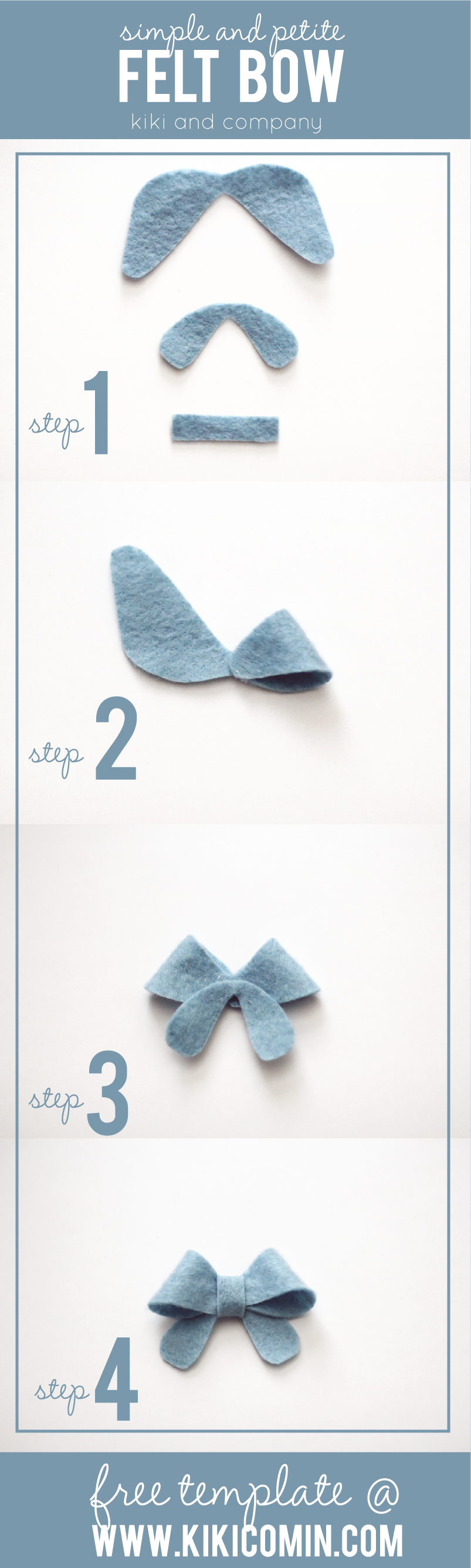 Simple and petite felt bow free template kiki company step 1 using template pronofoot35fo Gallery