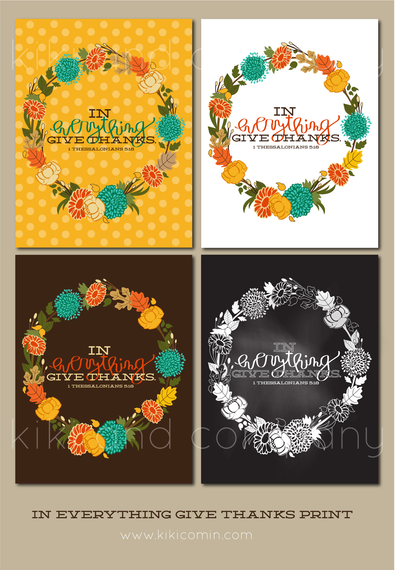 In Everything Give Thanks Thanksgiving Print Kiki Company