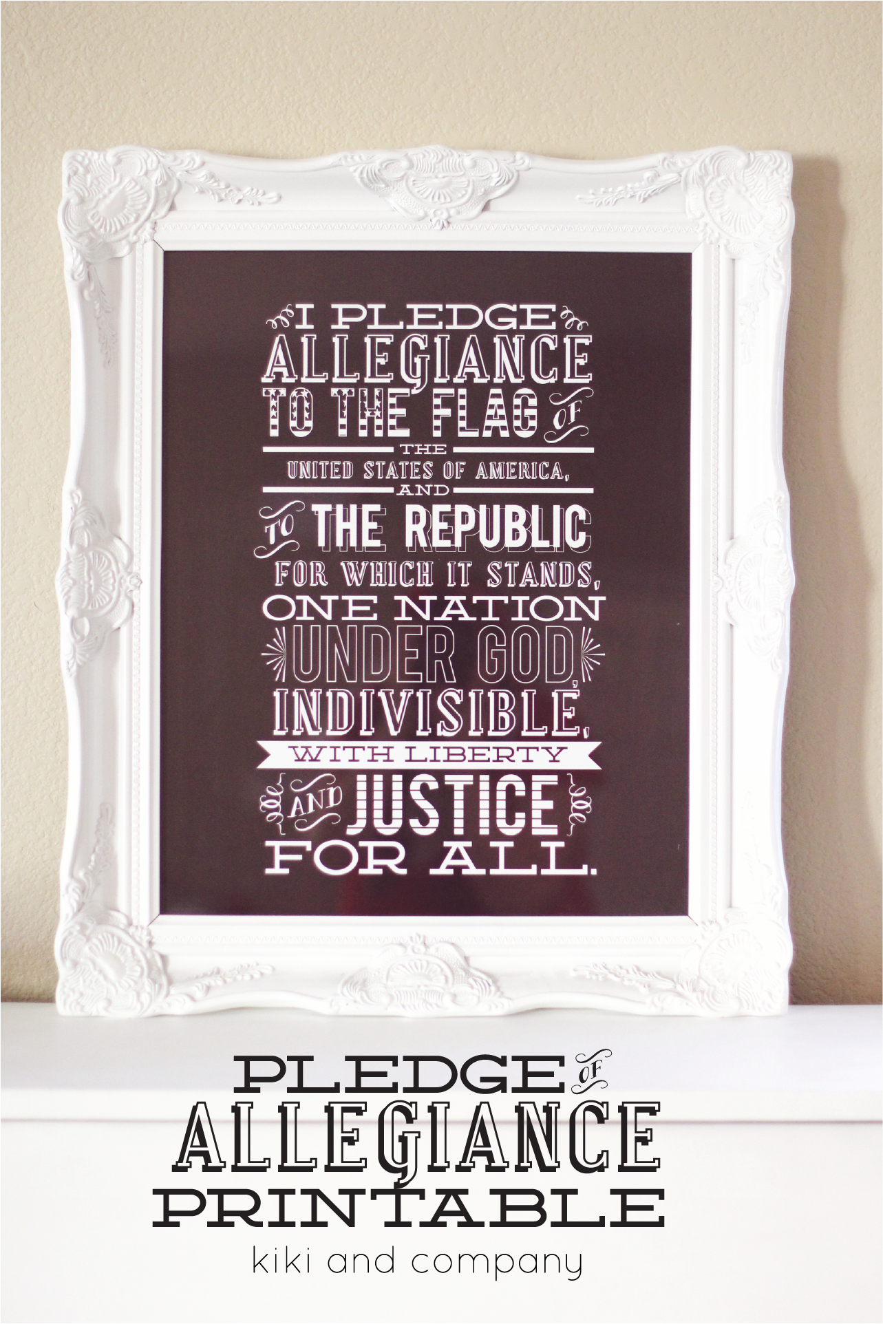 image about Pledge of Allegiance Printable identified as The Pledge of Allegiance contemporary printable + giveaway - Kiki
