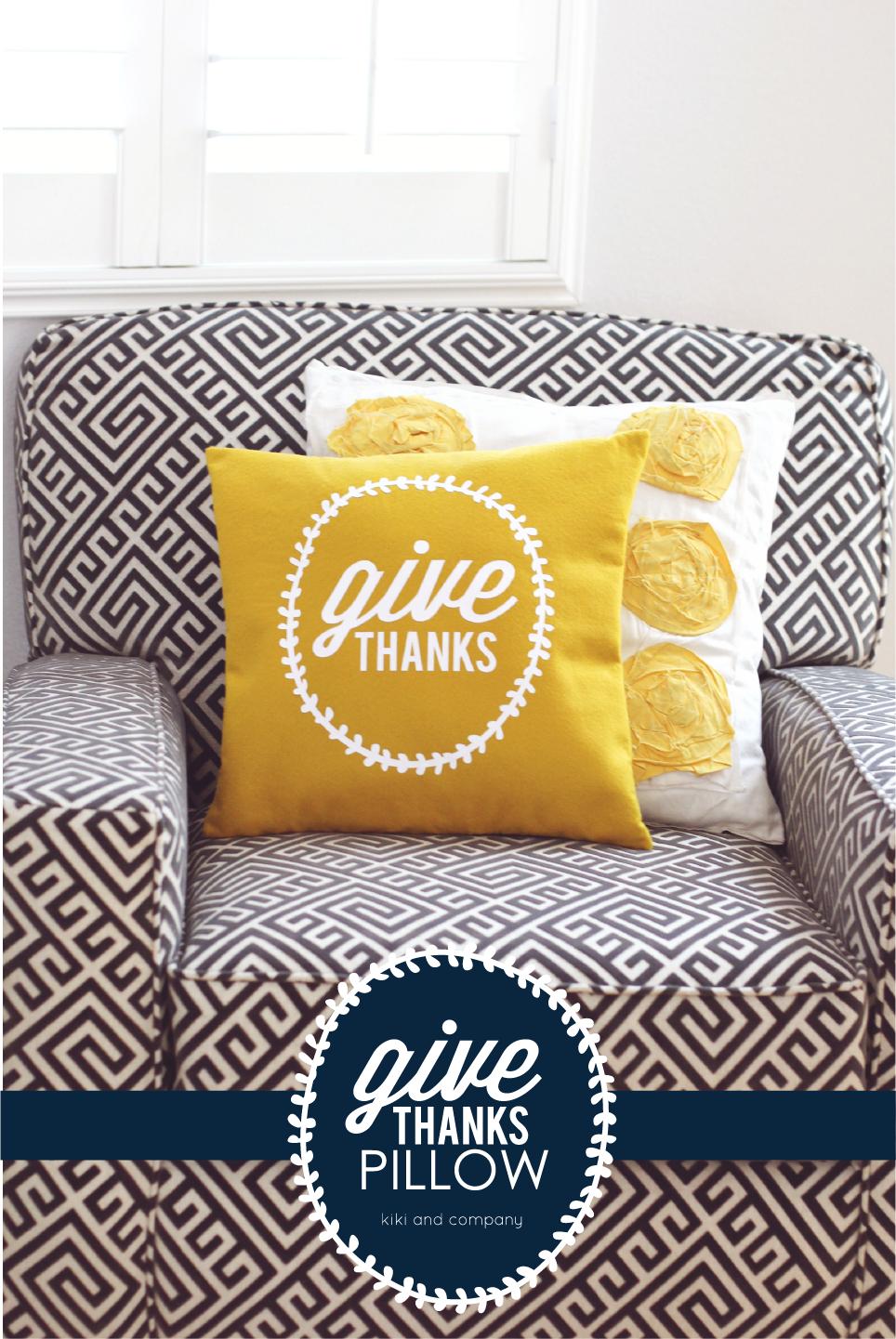 Give Thanks Pillow {tutorial} Thanksgiving Decor - Kiki & Company