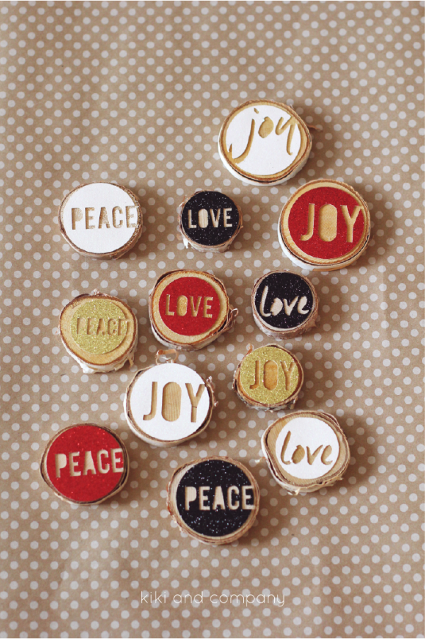 Love Joy Peace Christmas Ornaments from kiki and company. I need to make these!
