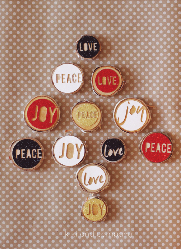Love Joy Peace Christmas Ornaments from kiki and company. Super cute craft idea