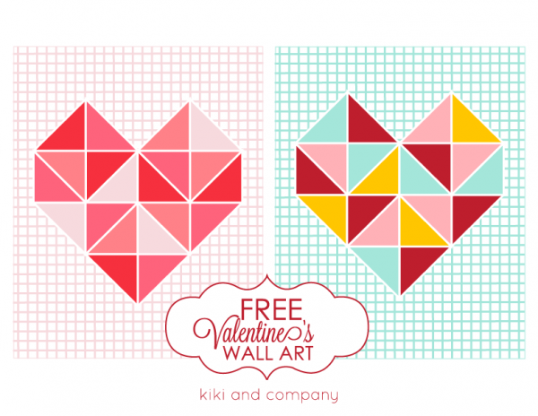 Free Valentines Day Triangle Art at Kiki and Company. LOVE!
