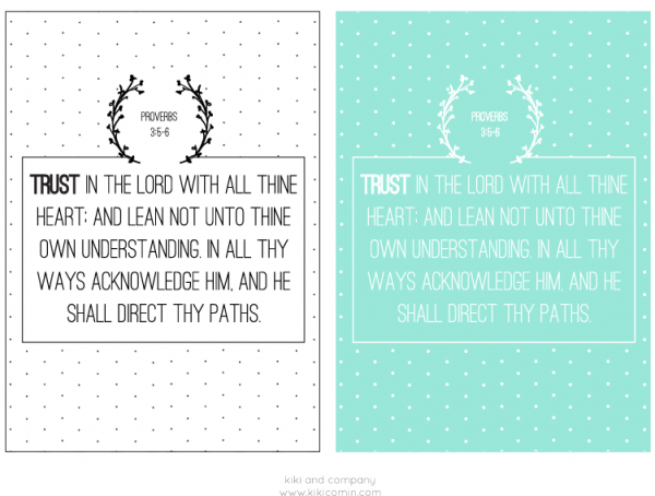 Trust in the Lord with all thine heart print at kiki and company