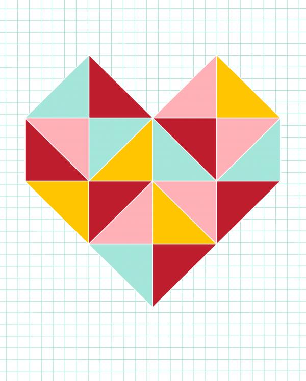 triangle heart 16x20