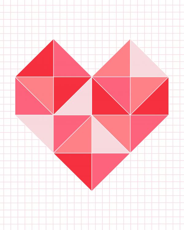 triangle heart pinks 16x20