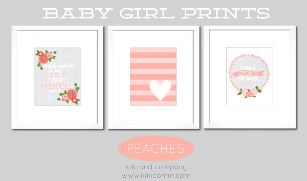 Peaches Set of Baby Girl Prints