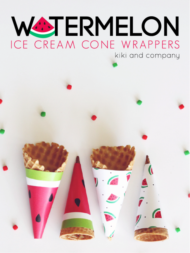 Watermelon Ice Cream Wrappers. So fun for the summer!