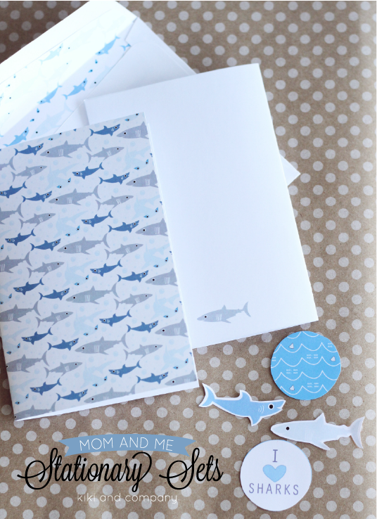 Free Mom and Me Stationary Sets from Kiki and Company. Shark Set. Love this.