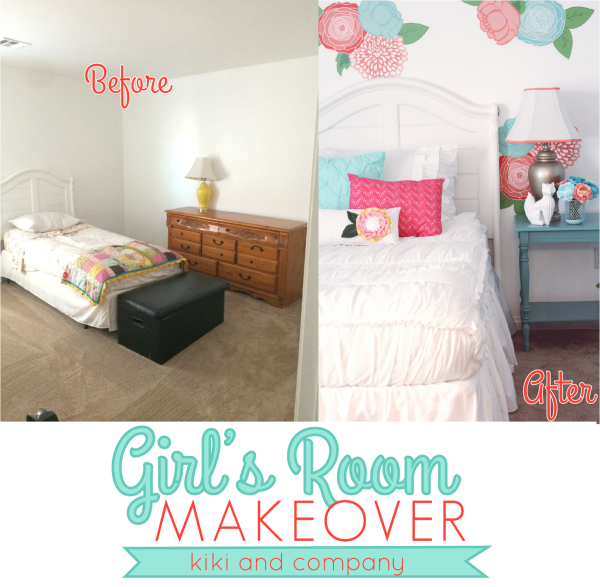 Before and After Girls Room Makeover from kiki and company