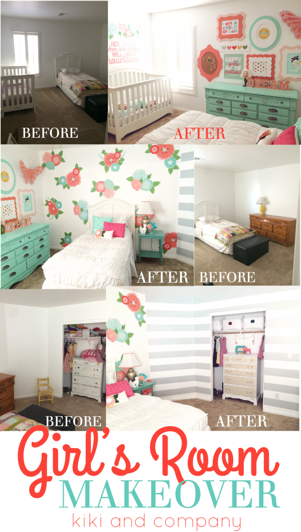 Girl's Room Makeover at Kiki and Company. Wow..this before and after is amazing!