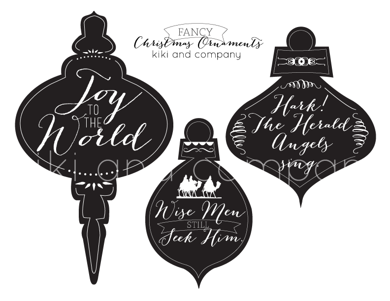 Printable chalkboard-look Christmas ornaments