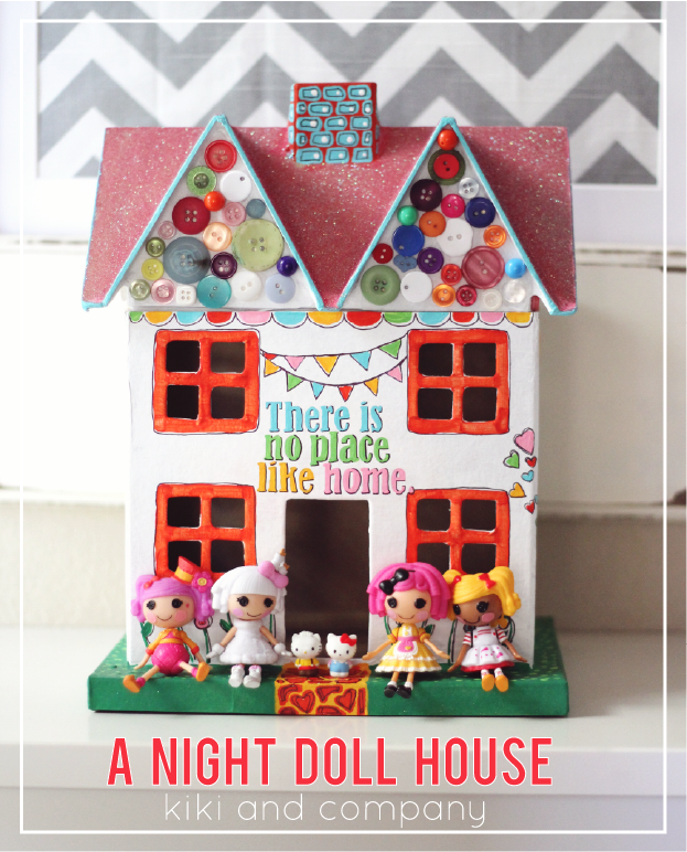 Folk art stenciled night doll house kiki company for Young house love dollhouse