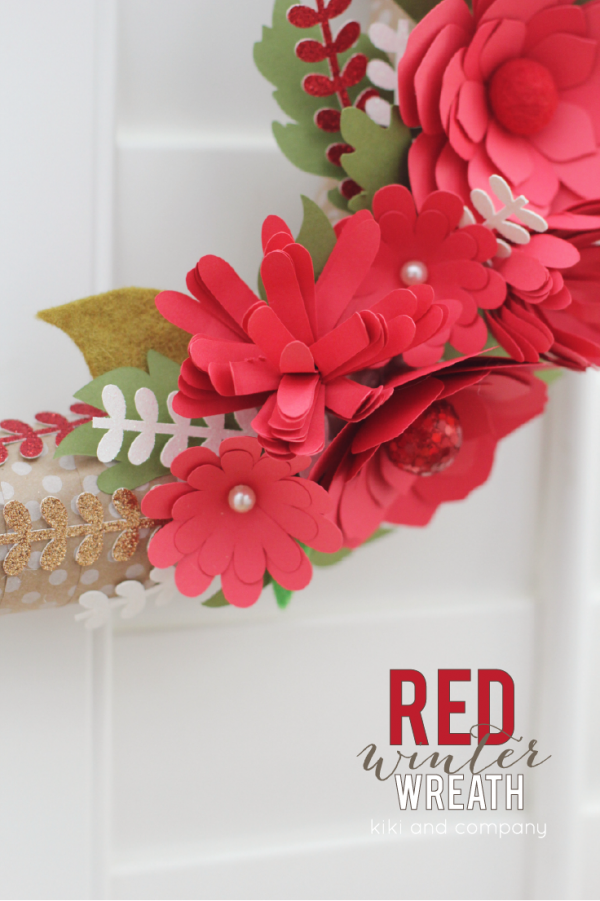 DIY Red Winter Wreath at kiki and company. LOVE this wreath!  #cricutexplore