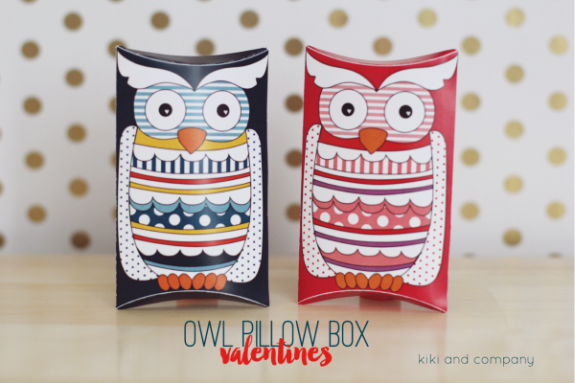 Owl pillow box valentines w free printable over the big moon owl pillow box valentines at kiki and company cute pronofoot35fo Images