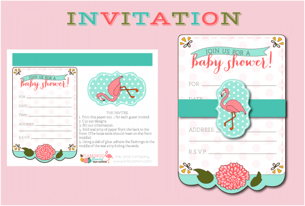 Flamingo and Flowers Baby Shower. Cute Girl Baby Shower. Cute!