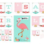 Flamingo and Flowers Baby Shower. Cute Girl Baby Shower.