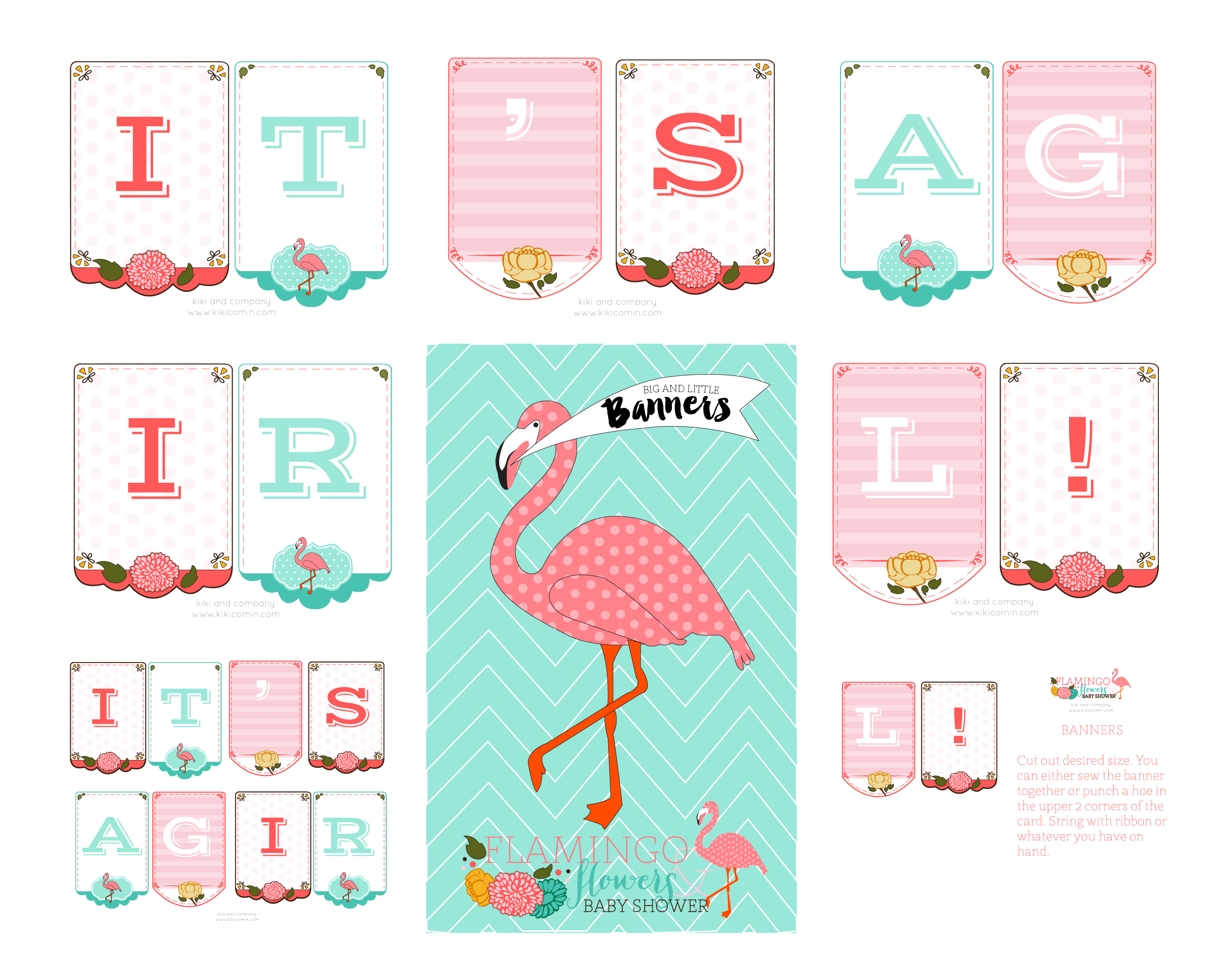 flamingos and flowers baby shower
