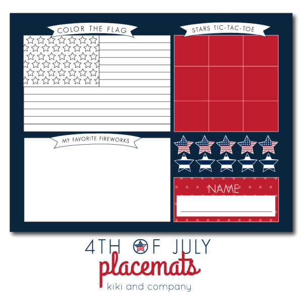 4th of July place mat at kiki and company
