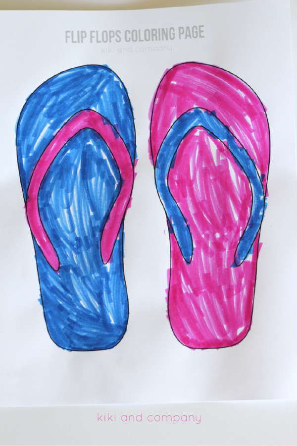 Free Flip Flops Coloring Page Cute For Summer