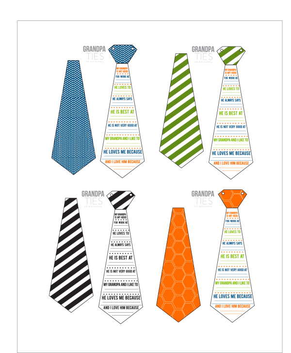 photo about All About My Papa Printable referred to as Grandpa Ties- A Fathers Working day Printable Card for Grandpa