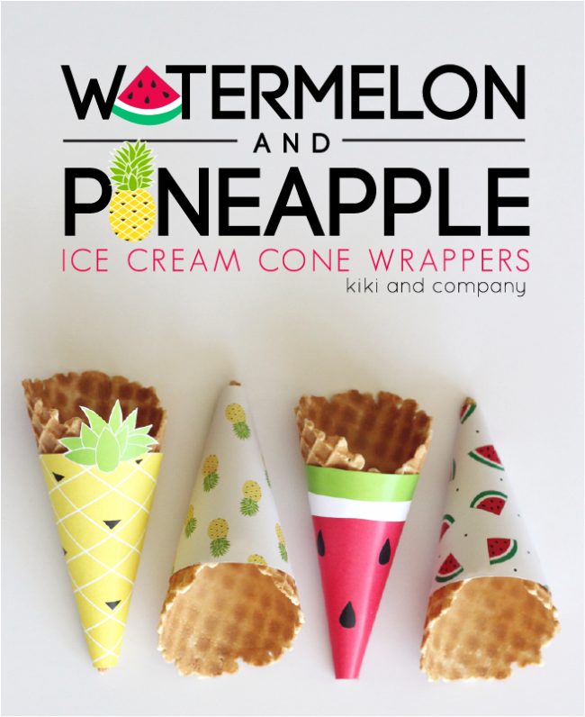 Free Printable - Watermelon and Pineapple Ice Cream Cone Wrappers. LOVE!