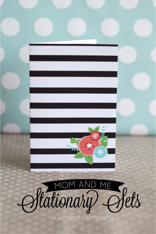 Free Mom and Me Stationary Sets from Kiki and Company. Flowers and Stripes.