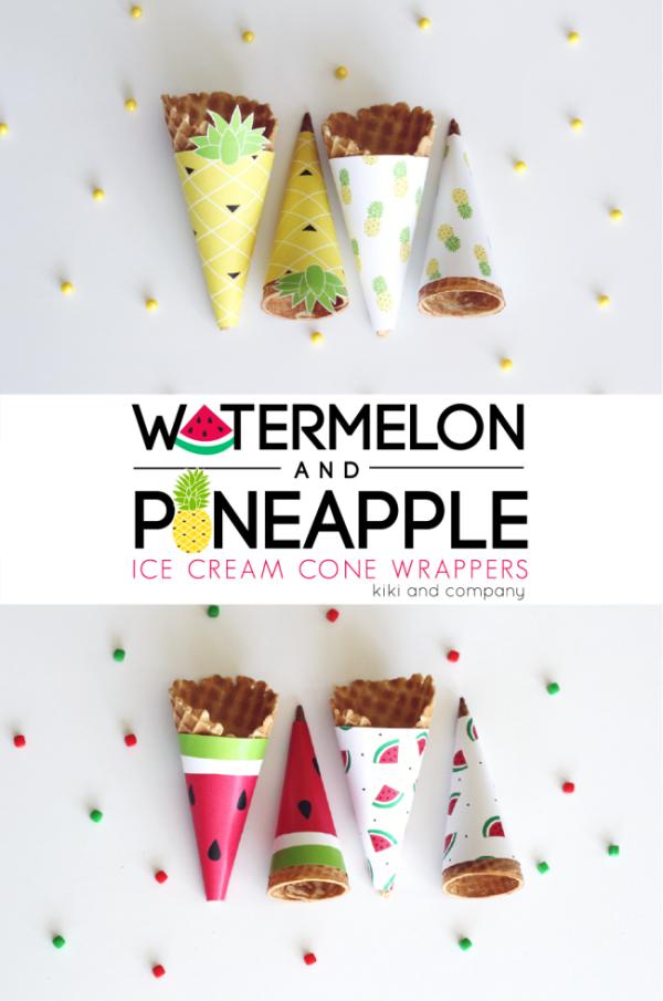Watermelon-and-Pineapple-Ice-Cream-Cone-Wrappers.-Cute-e1433545572704