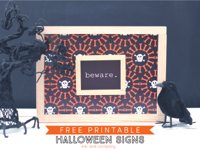Free Printable Halloween Signs from kiki and company.