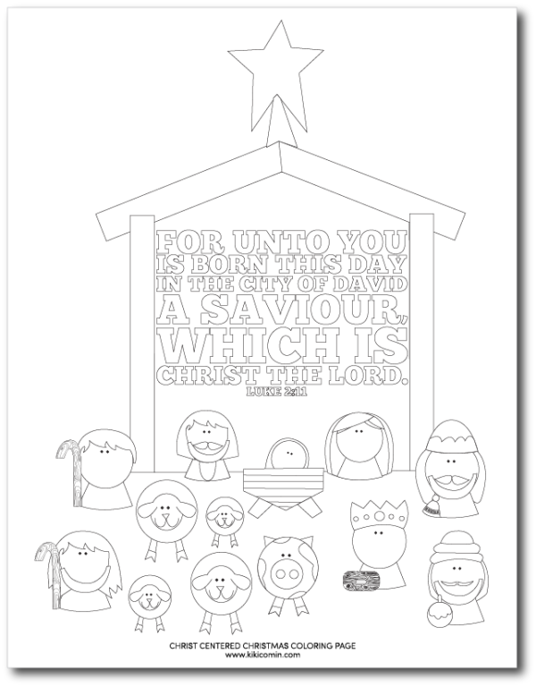 A free printable of a Nativity Coloring page that you can use at Christmas dinner, church or anytime you need a quick activity for your kiddos.