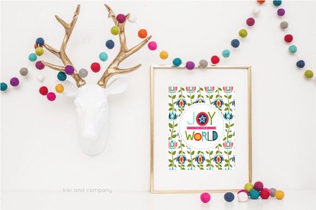 Holidays: Free printable Joy to the World print from Kiki & Co.  Print this adorable art to hang in your home for Christmas! via thirtyhandmadedays.com