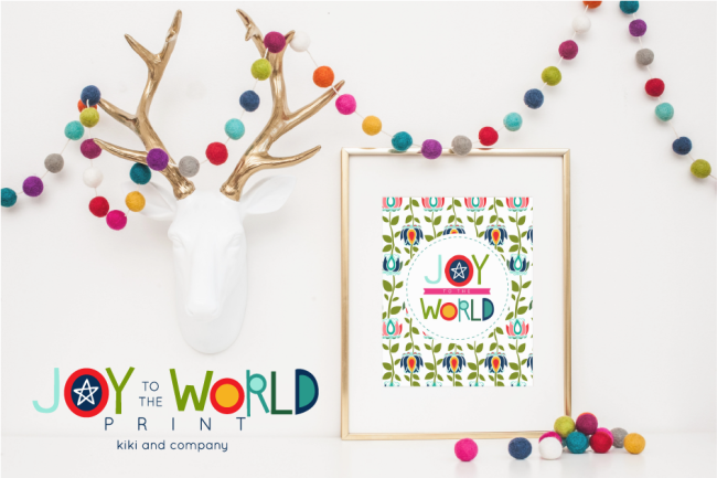 Holidays: Free printable Joy to the World print from Kiki & Co. Print this adorable art to hang in your home for Christmas!