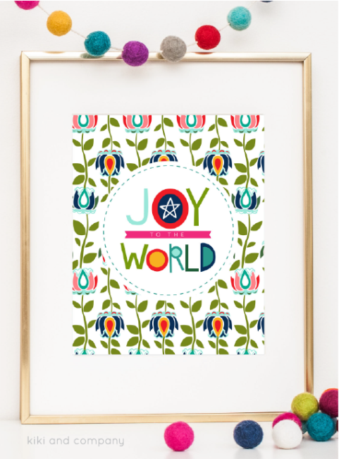Holidays: Free printable Joy to the World print from Kiki & Co.  Print this adorable art to hang in your home for Christmas! via www.thirtyhandmadedays.com