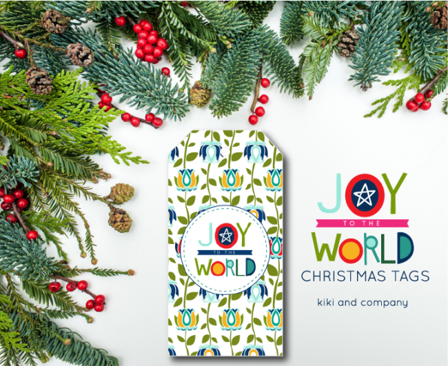 Holidays: Free printable Joy to the World Christmas tags from Kiki & Co.