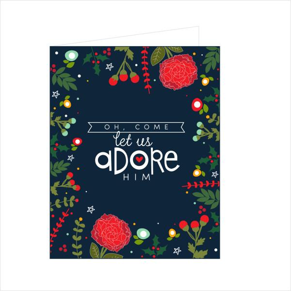 Oh, Come Let Us Adore Him Printable Christmas Cards - Kiki ...